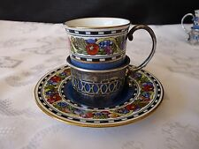 WEDGWOOD X9816 Demitasse CUP Saucer SET w/ Sterling Silver MAPPIN & WEBB Holder