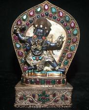 "8"" Tibet Buddhism Copper Gilt Lapis Lazuli Mahakala Wrathful Deity Buddha Statue"