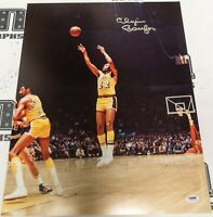 Elgin Baylor Signed Lakers Basketball 16x20 Photo PSA/DNA COA Picture Autograph