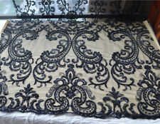 """53"""" Black Beaded Embroidery Tulle Wedding Lace Fabric Sequin Bridal Lace 1 Yard"""