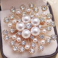 Fashion Wedding Bridal Rhinestone Crystal Silver Gold Flower Bouquet Brooch Pin