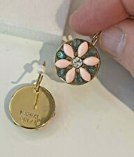 Michal Golan 24K Gold Enamel + Crystal Spring Flower Earrings handmade