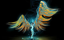 Framed Print - Abstract Colourful Angel with Wings Spread (Picture Poster Gothic