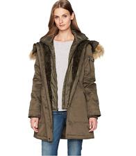 1 Madison Women's Faux Fur Trimmed Hood Shell Parka BLACK 700$ Size L