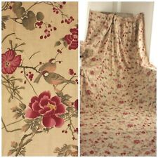 Antique Curtain French 1890 printed cotton HUGE STUNNING bird & floral design
