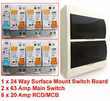 Complete 24 Pole Surface Mount Switchboard + Safety Switches + Main Switch + MCB