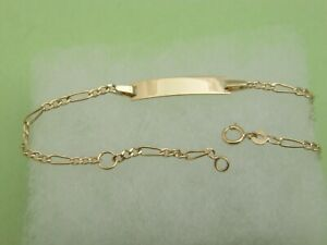 Real 14k Yellow Gold Baby bracelet ADJUSTABLE kids ID bracelet solid 14kt gold