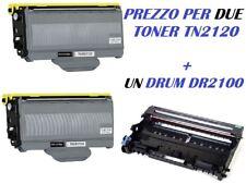 CARTUCCIA X BROTHER DCP-7030 DCP-7032 DCP-7040 X 2 TONER TN2120 + 1 DRUM DR2100