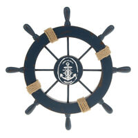 Nautical Beach Wooden Boat Ship Steering Wheel Home Wall Decor Dark Blue
