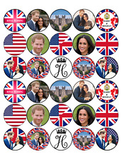 30 PREMIUM ROYAL WEDDING PRINCE HARRY & MEGHAN EDIBLE RICE CUP CAKE TOPPERS D1