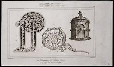 1842, Gravure ancienne Lanternes, lettres ornées / Angleterre mobilier Saxons