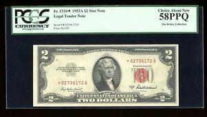 DBR 1953-A $2 Legal STAR Fr. 1510* PCGS 58 PPQ Serial *02796172A