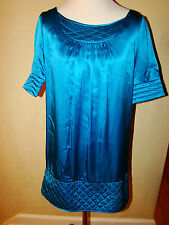CYNTHIA ROWLEY COBALT SATIN BLUE 100% SILK QUILTED ACCENT BLOUSE TOP SIZE 4
