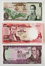 Set of 3 diff. Colombia 5, 50, 100 Pesos 1980's-90's Au-Unc.