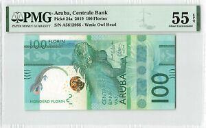 Aruba 100 Florin Gulden 2019 Antilles Pick 24a PMG About Uncirculated 55 EPQ
