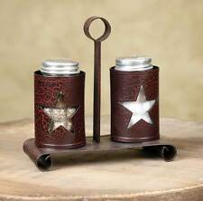 Primitive new crackled black/red STAR salt and peeper caddy w/shakers / nice