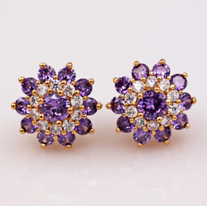 2Ct Round Cut Amethyst Flower Style Push Back Stud Earrings 14K Yellow Gold Over