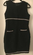 Anna Sui Black Lined Wool Dress Size 8