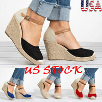 Women Platform Wedge Heels Sandals Round Toe Suede Pump Ankle Strap Shoes Casual