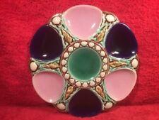 Antique Cobalt Blue, Pink & Green Majolica Oyster Plate c.1800's, op520