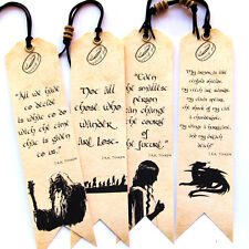Lord of The Rings Bookmarks with bead Set of 4 Quotes Unique Handmade Gift