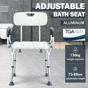 Medical Shower Chair Bathtub Bath Seat Stool Bench w/ Back Armrests Aid Safety