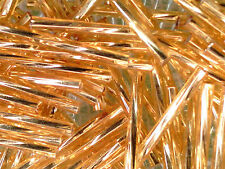 VTG 200 TWISTED GOLD SILVER LINED GLASS 30mm BUGLE BEADS ORNAMENTS #100811f