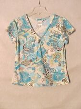 S5916 Nomadic Traders Women's Small Blue Floral V-Neck Cap Sleeve Knit Top