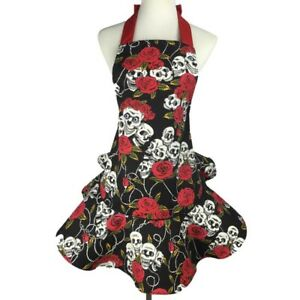 Featured Apron Dress Cotton Canvas Rose Flower Skull Cosplay Home Kitchen Gifts