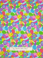 """Springs Creative Fabric - CP42432 Easter Egg Toss Bright on Yellow 24"""""""