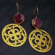 Gold Drop Earrings Jade Disc Semi Precious Gemstone Bronze Disc Turkish Ottoman