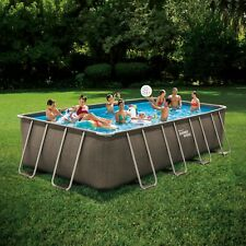 Summer Waves 24ft x 12ft x 52in Rectangle Above Ground Frame Swimming Pool Set☀�