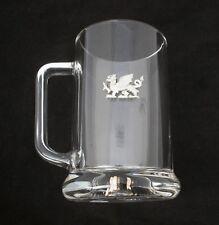 Welsh Dragon Glass Beer Lager Tankard Oversized pint 600 ml Gift 391