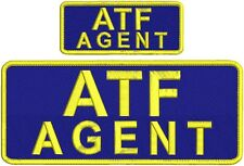 ATF AGENT embroidery patch 4x10 and 2x5 hook on back navy background