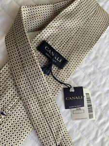 Canali Good & Charcoal Gray Polka Dot Silk Neck Tie NWT