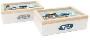 Beachside Wooden Tea Box 24cm With 6 Compartments