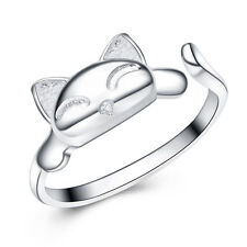 Silver tone coiled cat ring, UK Size M