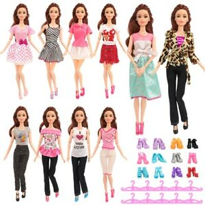 NEW 30pcs Barbie Doll Dresses Clothes Accessory INCLUDES 10 HIGH QUALITY OUTFIT