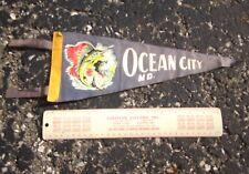 OCEAN CITY vtg felt pennant 1960s beat-up Maryland mini flag Dayglo Swordfish