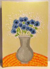 ACEO Original Miniature Painting, CORNFLOWERS IN VASE, Mixed Media