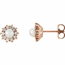 Freshwater Cultured Pearl & 1/3 ct. tw. Diamond Earrings In 14K Rose Gold