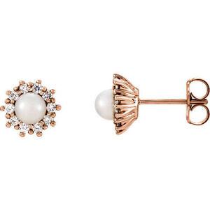Freshwater Cultured Pearl & 1/3 ct. tw. Diamond Earrings In 14K Rose Gold