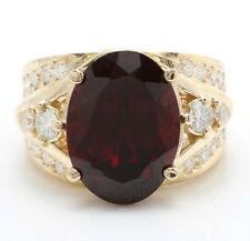 10.87 Carat Natural Red Garnet and Diamonds in 14K Solid Yellow Gold Ring