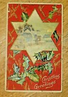 Antique German Early 1900's Mistletoe Country Scene Embossed Christmas Post Card