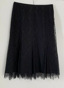 Max Mara Black Lace Skirt. UK & AU 10 / US 8. Made In Italy.