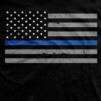 Police blue hooded sweat shirt tactical USA flag blue line Gildan hoodie