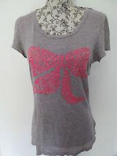 KILLAH-Grigio/Pink Bow Design T-shirt taglia small