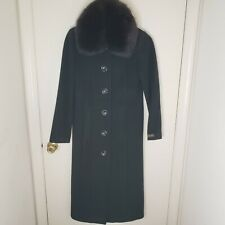 1 Madison Women's Coat Real Fox Fur Trim Wool Cashmere Black Dress 4 Peacoat Sm