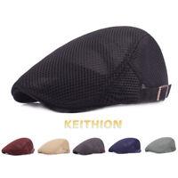 Men's Hat Berets Cap Golf Driving Sun Flat Cabbie Adjustable Mesh Newsboy Cap
