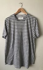 Abercrombie Fitch AF Mens Navy & Gray Stripe Curved Hem T-Shirt Tee Size XL